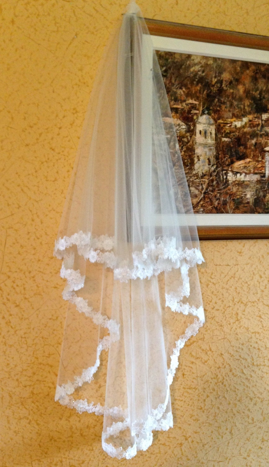Lace Wedding Veil With Beaded Flower Edge In Hip Length Two