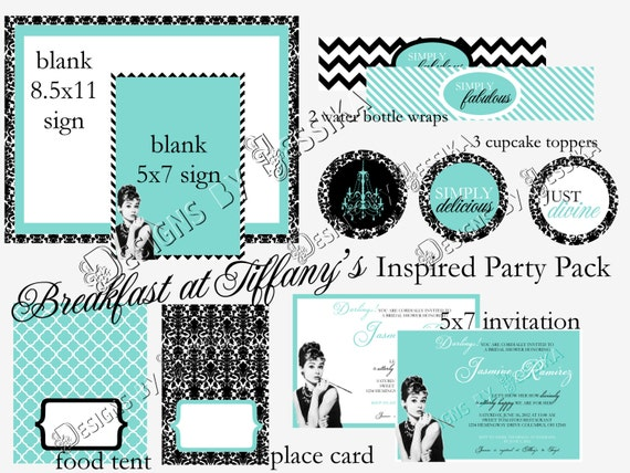 Items similar to Breakfast at Tiffany's Party Package (PRINTABLE) on Etsy