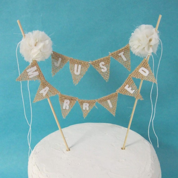 Rustic Cake Topper Burlap Cake Topper Shabby Chic Cake: Rustic Wedding Cake Topper Wedding Ivory Burlap Bunting