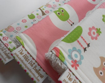 Baby Girl  CHENILLE BURP CLOTHS - -  Whimsy Owls - - Set of 3