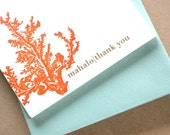 Coral Mahalo Letterpress Flat note with envelopes qty/8