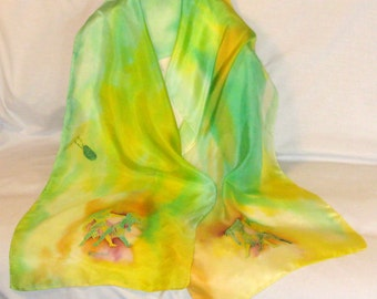 Silk Scarf,GeminiThe Twins,Green,Yellow,Handmade,Zodiac,14x72inches