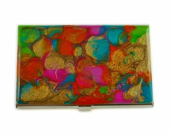 Business Card Case Hand Painted Enamel Orange, Turquoise, Lime, Fuchsia and Gold Credit Card Case Custom COlors and Personalized Options