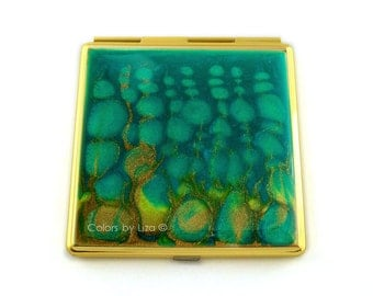 Square Compact Mirror Hand Painted Enamel Peacock Inspired Turquoise and Lime Glossy Finish Custom Color and Personalized Options Available