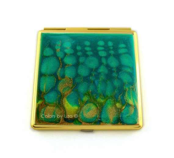 square compact mirror hand painted enamel peacock