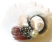 ROSE, SLATE, and CHAMPAGNE Peacock Feather Clip Rhinestone Elegant Bridal  Wedding Fascinator Clip with Ivory Veil