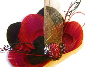 SALE APPLE of my Eye Black and Red Peacock Feather Fascinator Clip with Vintage Apple Pin OOAK