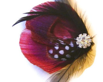 Peacock Feather Hair Clip in BURGUNDY and Rhinestone Wedding Party Hair Fascinator Clip