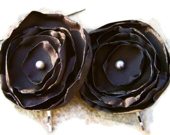 Black Satin Poppy  Bobby pin set Bridal Party
