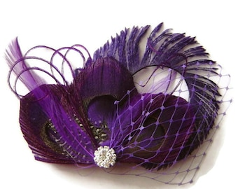 REGAL PRINCESS Purple Princess Peacock Feather Bridal Hair Clip Wedding Party Fascinator Clip with Peacock Sword
