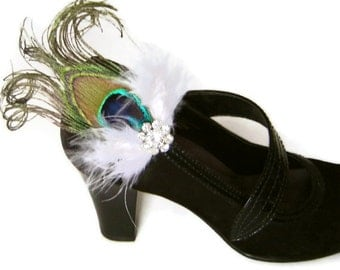 MARABOU and PEACOCK Feather  Shoe Clips with Rhinestones Wedding Party Bridesmaid