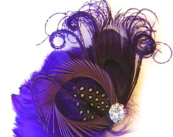 PLUM and MAUVE Bridal Feather Hair Fascinator Clip with Rhinestone Jewel