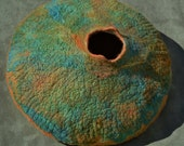 Hand made Art felted vessel made of merino wool and silk mawata, oranges, rusts, greens, turquoise, blues