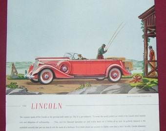 Original 1935 Lincoln Seven Passenger Touring Car Advertising Magazine Page