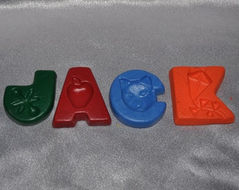 Recycled Crayons Name Letter shaped Total of 4 Letters.  Boy or Girl Kids Unique Party Favors, Crayons.