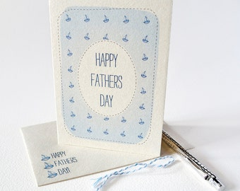 Fathers Day Card - Happy Fathers Day - Blue Sailing Boats