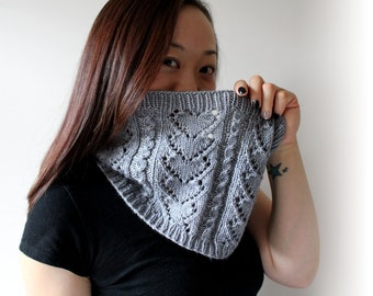 Lovely Cowl Knitting PDF Pattern Eyelet Heart Cable