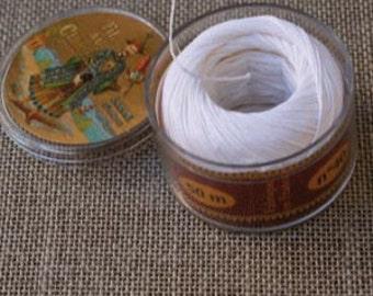 Sajou Fil Au Chinois Waxed Linen Sewing Thread - White