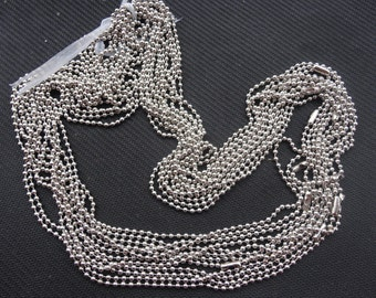 15pcs 27 inch 2.4mm white k ball chain necklace chain with matching connector