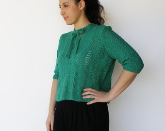 Vintage Late 1960s Forest Nymph Hand Knit Sweater / Size M