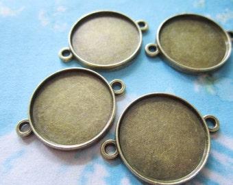 10pcs antiqued bronze round bezel base/picture frame setting connectors