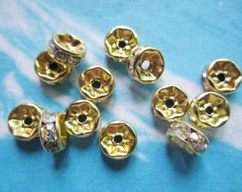 50pcs bright gold class A crystal 6mm round  flat spacer beads