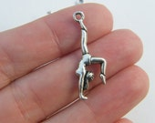 BULK 30 Gymnast pendants antique silver tone SP116