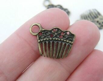 12 Hair comb or hair slide charms antique bronze tone BC41
