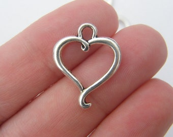 10 Heart charms antique silver tone H55