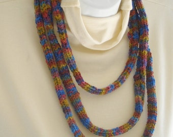Fiber Necklace Hand Knit Infinity Scarf  - Soft Textile Jewelry