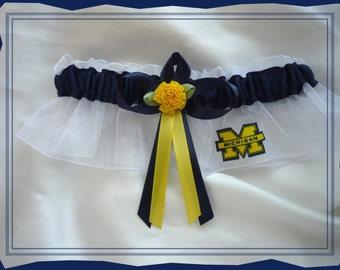 White Organza Wedding Garter Made with Michigan Wolverines Fabric