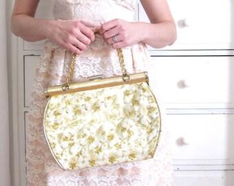 Gold Purse / 1960s Plastic Purse / 50s 60s Purse / Gold Handbag