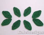 "Emerald Green 1"" Crochet Leaves Embellishments Handmade Applique Scrapbooking Fashion Accessories - 8 pcs. (7320-01)"
