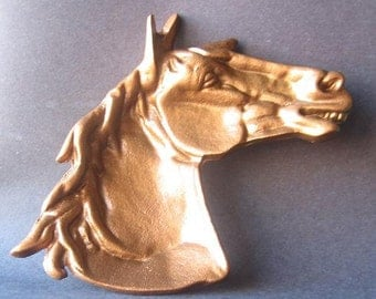 Cast Iron Horse Dish Painted in Hammered Copper