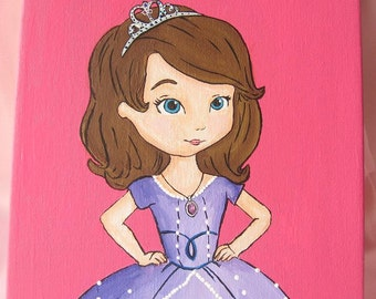 Princess Sofia the First - Princess Art work Painting  on Canvas/Nursery/Kids/ For the home/ Girls Room/ Home Decorating