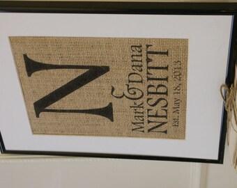 Free US Shipping...Personalized Monogram Wedding Burlap Print