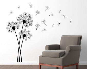 Dandelion Wall Decal   Dandelion Seeds Blowing In The Wind Sticker   Flower  Decor   Large Part 38