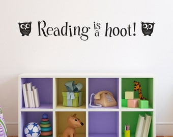 Reading Wall Decal - Reading is a hoot Decal - Library Decal Wall Art - Children Wall Sticker - Large