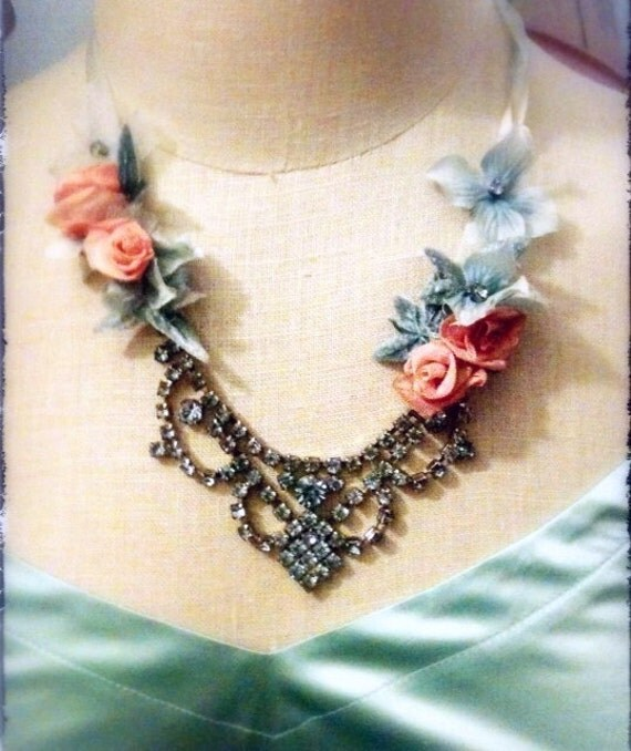 """Blue vintage rhinestone and peach ribbon rose statement necklace """"Marie Antoinette"""""""