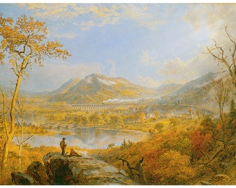 Wooden jigsaw puzzle. STARRUCCA VIADUCT RAILWAY. Jasper Francis Cropsey. Wood, handcut, handcrafted, collectible. Bella Puzzles.