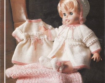 LOWEST PRICE Baby/doll KNITTING Pattern for Doll, coat, Pram Cover, Bonnet, Shoes and Dress Immediate digital download pdf