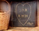 Primitive Personalized Heart and Initials Wooden Family Name Sign