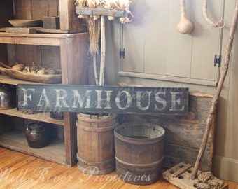 Early looking Antique Primitive FARMHOUSE Wooden Sign