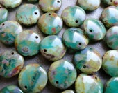 Premium Czech Glass - Aqua Pale Green Picasso  - Large Lentil Beads - BeadSoupBeads