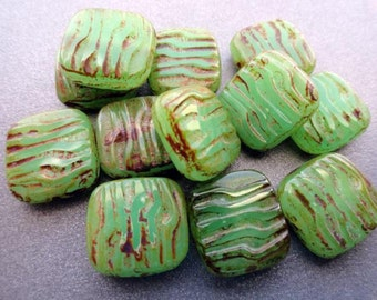 15mm Czech Glass Picasso Carved Squares - Peridot Green