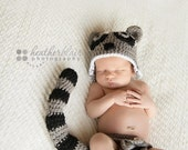 Baby boy prop, baby girl prop, Raccoon Set, Raccoon, photo prop, crochet hat, baby shower gift, crochet diaper cover, baby costume