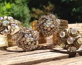 VINTAGE RHINESTONE Napkin Rings  set of 4 -- gold with aurora borealis rhinestones - up-cycled & repurposed - bling table - wedding decor