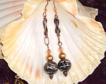 Antiqued Copper Rope Chain Earrings With Foiled Glass Beads