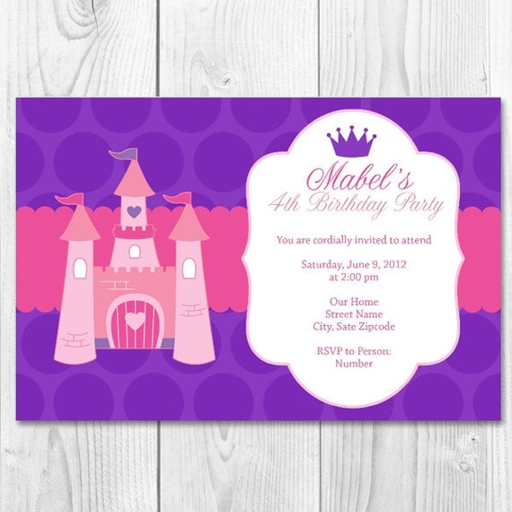 Purple and Pink Princess Invitation-Printable