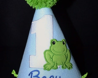 1st Birthday Party Hat with little green frog or have me custom make a hat to match your party theme